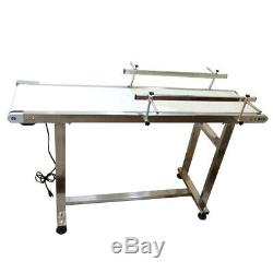 110V 53x11.8 inch White PVC Belt Conveyor With Double Guardrail New Product