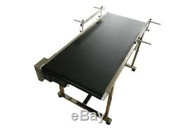 110V Electric PVC Belt Conveyor Stainless Steel 59x19.7inch with 2 Fences