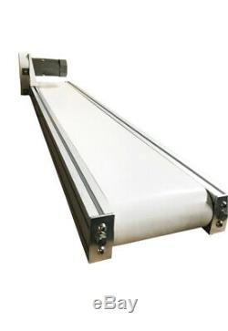 110V Electric White PVC Belt Conveyor mesa, No Legs, Various Speed Adjustable