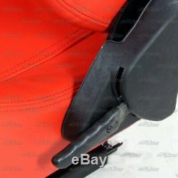 1x Pair Red PVC Leather Type-R Full Reclinable Racing Seat +Red 5 Pt Seat Belt E