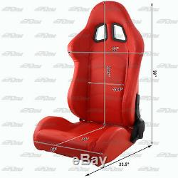 1x Pair Red PVC Leather Type-R Full Reclinable Racing Seats + Black Seat Belt A