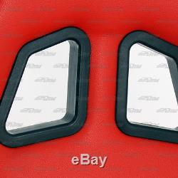 1x Pair Red PVC Leather Type-R Full Reclinable Racing Seats + Black Seat Belt B
