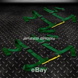 2 Pvc Leather Red Stitches Racing Seats+universal Slider+4pt Harness Green Belts