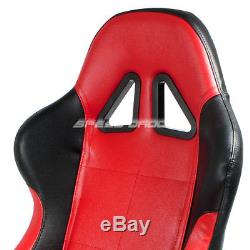 2 X Red/black Pvc Leather Racing Seats+universal Slider+4pt Harness Green Belts