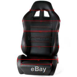 2PC JDM Black PVC Racing Seats Red Stitching+Black 4-Point Seat Belts Harness