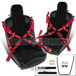 2PC PVC Leather JDM Off-Road Buckle Style Racing Seat+Red Seat Belt