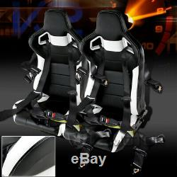 2PC White Black PVC Leather JDM Racing Seats+4 Point Harness Racing Seat Belts