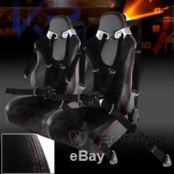 2X Black Suede/PVC Leather Check Pattern Racing Seats+Black 4-PT Seat Belts