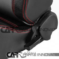 2x Black PVC Leather Red Stitching Racing Seats+Red 4-Point Camlock Seat Belts