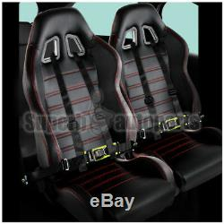 2x Black PVC with Red Stitching JDM Reclinable Racing Seats+Black 4-PT Seat Belts