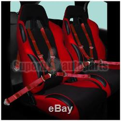 2x Black & Red PVC Cloth Reclinable JDM Racing Seats+Red Camlock Seat Belts