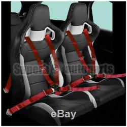 2x Black White PVC leather JDM Reclinable Racing Seats+Red Camlock Seat Belts