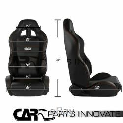 2x JDM Black PVC Leather Red Stitching Racing Seats+Blue 4-Point Seat Belts