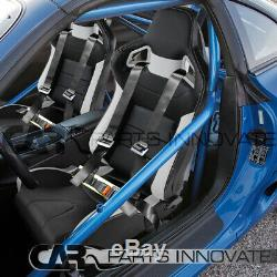 2x JDM Black White PVC Leather Full Reclinable Racing Seats+Buckle Belts