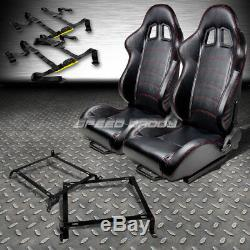 2x Pvc Leather Racing Seat+4-point Black Buckle Belts+brackets For Civic/integra