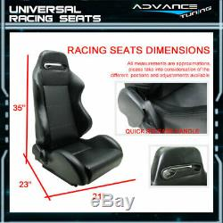2x RCO Style PVC Black Racing Seats + For Chevy 4 Point Seat Belt Blue