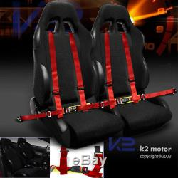 2x Reclinable Black Cloth PVC Leather Racing Seats+Slider+Red 4-PT Buckle Belts