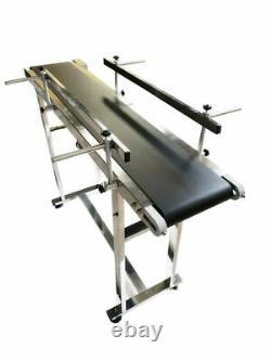 47x8 Packing Belt Conveyor Black PVC Transfer Machine Two Guardrail Stainless