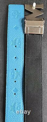 Authentic MCM Claus Monogram Reversible Deep Lagoon Turquoise Belt One Size NWT