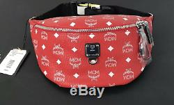Authentic MCM Visetos Fursten Red Medium Belt Bag Adjustable NWT