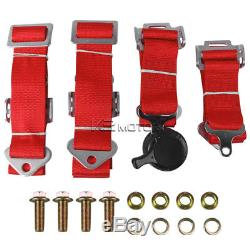 Black Cloth PVC Leather Racing Seats+4 Point Camlock Red Seat Belts Harness