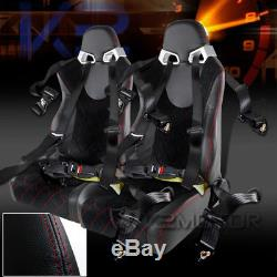 Black PVC Leather Red Suede Check Pattern Racing Seats+4 Point Seat Belts