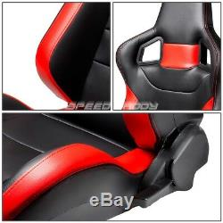 Black/red Pvc Leather Sports Style Racing Seats+2x 4 Points Buckle Red Belts