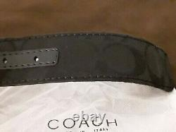 Coach Belt In Signature Canvas/Leather 47 Charcoal Black