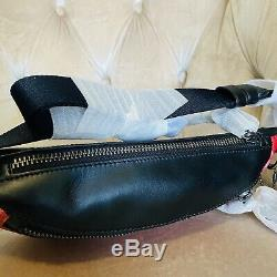 Coach Horse And Carriage Warren F83411 Leather Belt Bag Pouch Red Black New