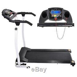 Folding Exercise Treadmill1100W PVC Belt White witht Multi-Function LCD Display