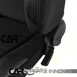 JDM Black Cloth PVC Reclinable Racing Bucket Seats Pair withCamlock Belt Harness