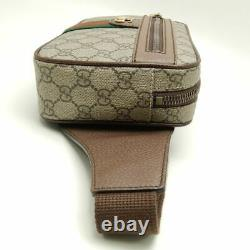 MINT! Auth GUCCI Ophidia GG Belt Bag Body Bag 574796 PVC x Leather Brown /058152