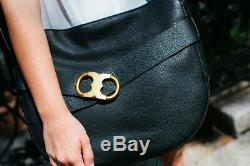 NEW $595 Tory Burch Gemini Belted Large Leather Shoulder bag in Black