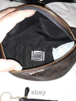 NWT AUTH COACH BELT BAG-FANNY PACK. Signature CCs & matching ID wallet keychain