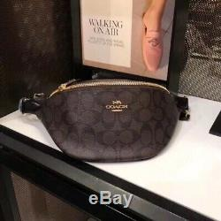 NWT COACH Belt Bag In Signature Canvas with Brown/Black/Imitation Gold color