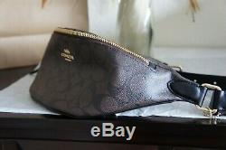 NWT COACH F48740 Signature PVC and Leather Belt Bag Fanny Pack Brown Black $278