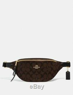 NWT COACH F48740 Signature PVC and Leather Belt Bag Fanny Pack Brown Black $298