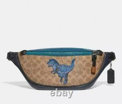 NWT COACH Mens Rivington Belt Bag In Signature Canvas With Rexy By Zhu Jingyi