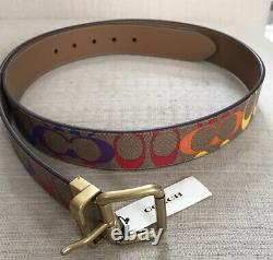 NWT Coach Roller Buckle Reversible Belt In Rainbow Signature Canvas