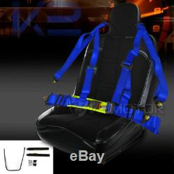 New Off-Road Black PVC Bucket Style Sport Racing Seat+Blue 4-PT Buckle Belt