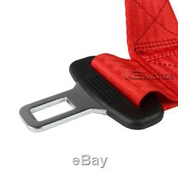 Pair Black Red PVC Leather Reclinable Racing Seats+Red 4 Point Seat Belt