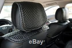 Seat Cover Shift Knob Belt Steering Wheel All Black PVC Leather Luxury Upgrade 3