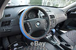 Seat Cover Shift Knob Belt Steering Wheel Black+Blue PVC Leather High Quality 2