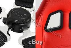 TYPE-1 Red PVC Leather Red Stitch Racing Seats + 5PT Black Seat Belt Universal 3