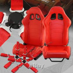 TYPE-1 Red PVC Leather Red Stitch Racing Seats + 5PT Red Seat Belts Universal 2