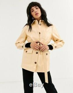 Topshop cream butter yellow belted vinyl PVC latex jacket coat Size 6. New +tags